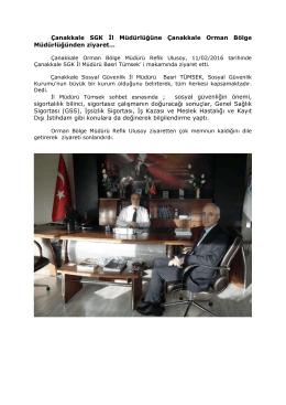 Çanakkale SGK İl Müdürlüğüne Çanakkale Orman Bölge