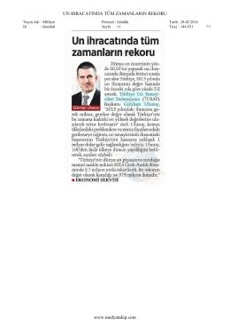 UN IHRACATINDA TÜM ZAMANLARIN REKORU www.medyatakip