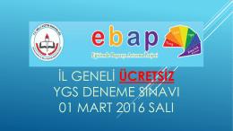 il geneli ücretsiz ygs deneme sınavı 01 mart 2016 salı