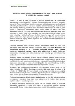 Stanovisko odboru ochrany ovzduší k aplikaci § 17 odst. 3 písm. g