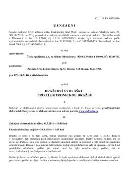 Dražební vyhláška - Exekutorský úřad Plzeň - město