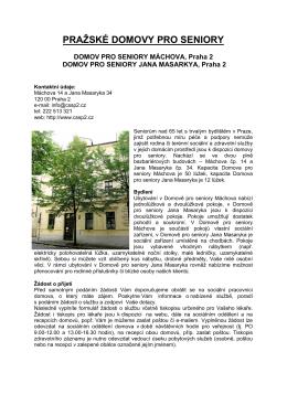 pražské domovy pro seniory