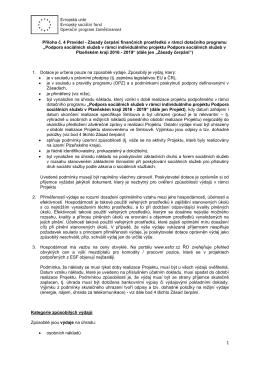 Příloha č. 4 Pravidel - Zásady čerpání finančních prostředků v rámci