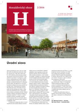Úvodní slovo - Horažďovický obzor
