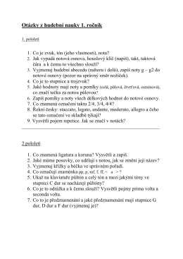 Otázky z Hudební nauky pro školní rok 2015/16