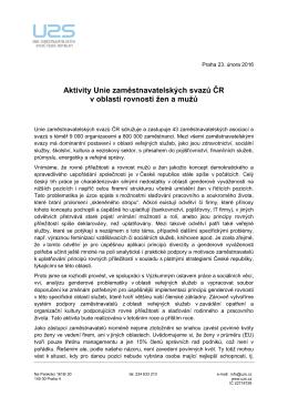 Aktivity UZS ČR v oblasti rovnosti žen a mužů