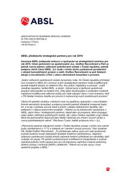 ABSL představila strategické partnery pro rok 2016