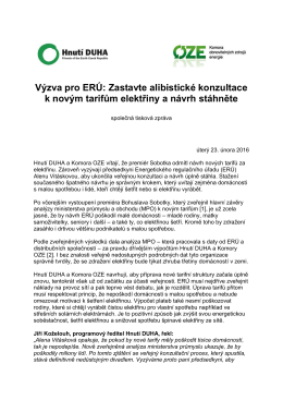 Výzva pro ERÚ: Zastavte alibistické konzultace k novým tarifům