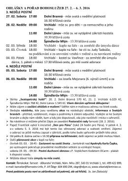 OHLÁŠKY A POŘAD BOHOSLUŽEB 27. 2. – 6. 3. 2016 3. NEDĚLE