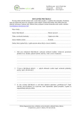 dotazník pro školu - Středisko výchovné péče