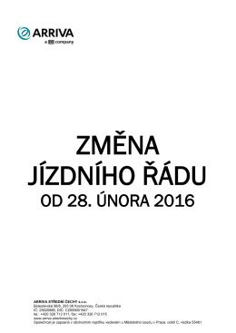 od 28. února 2016 - ARRIVA STŘEDNÍ ČECHY s.r.o.