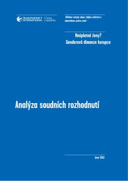 Analýza korupčních trestných činů z pohledu genderu 2015