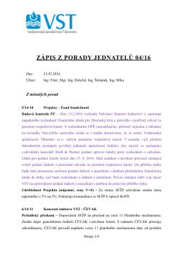 ZÁPIS Z PORADY JEDNATELŮ 04/16