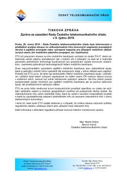 Tisková zpráva ČTÚ - Český telekomunikační úřad