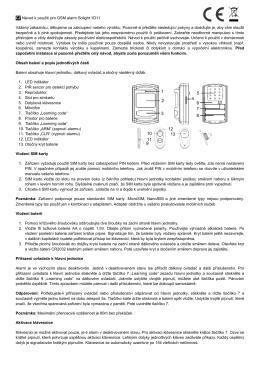 CZ Návod k použití pro GSM alarm Solight 1D11