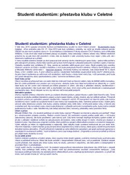 Studenti studentům: přestavba klubu v Celetné