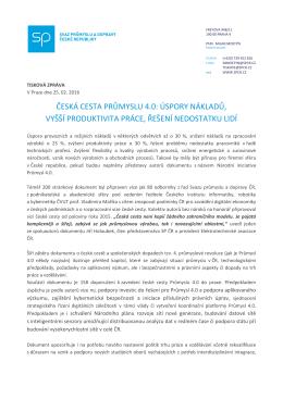 tiskové zprávě - Svaz průmyslu a dopravy ČR