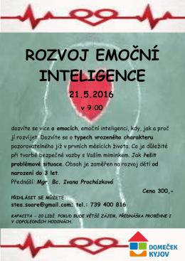 ROZVOJ EMOČNÍ INTELIGENCE 21.5.2016 v 9:00
