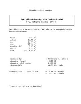 nabídka pronájmu bytu Duchcovská 163
