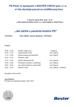 Pozvánka na prezentaci společnosti BAXTER CZECH spol. s r.o.