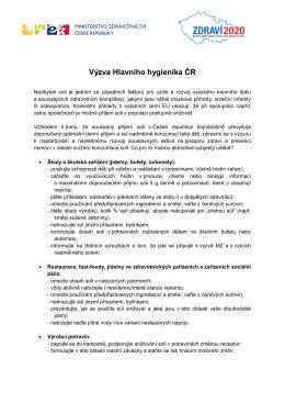 Výzva Hlavního hygienika ČR