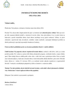 informace k táboru 2016 - 13. středisko HIAWATHA Brno