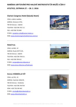 Nabídka ubytování, MČR v hale 2016
