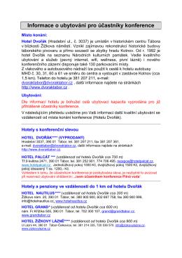 Informace o ubytování pro účastníky konference