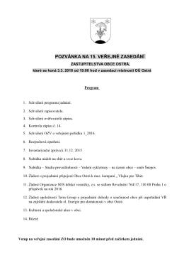 pozvánka na 15. veřejné zasedání