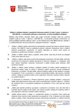 Sdělení ve věci žádosti o poskytnutí informace v režimu