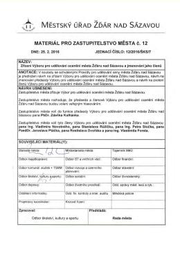 Zřízení Výboru pro udělování ocenění města Žďáru nad Sázavou a