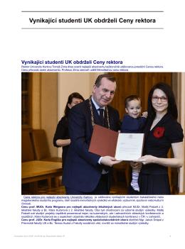 Vynikající studenti UK obdrželi Ceny rektora