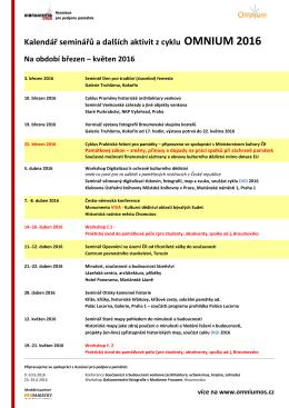 Kalendář seminářů a dalších aktivit z cyklu OMNIUM