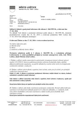 sdělení k žádosti č. j. 371/2016, systémové změny v