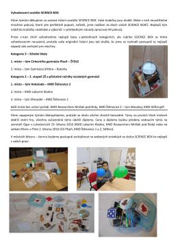 Vyhodnocení soutěže SCIENCE BOX
