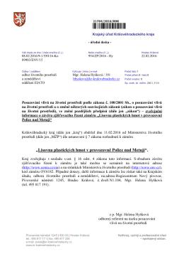 Zveřejnění informace o závěru zjišťovacího řízení záměru Lisovna