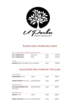 šumivá vína / sparkling wines rozlévaná vína / wines by the glass