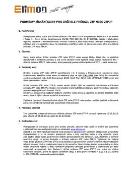 podmínky získání slevy pro držitele průkazu ztp nebo ztp/p