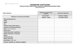 Závěrečné vyúčtování projektu