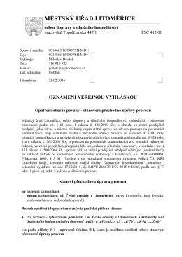 Opatření - stanovení - havárie ul. České armády, Litoměřice