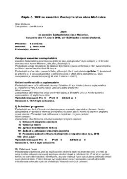 Zápis č. 16/2 ze zasedání Zastupitelstva obce Močovice