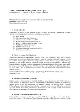 Zápis z jednání Osadního výboru Dolní Lipka