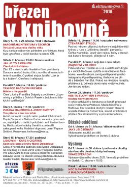 Plakát akcí knihovny na březen 2016