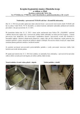 26.2.2015 Nedostatky v TUDAM café bar odstraněny ze dne 22.2.2016