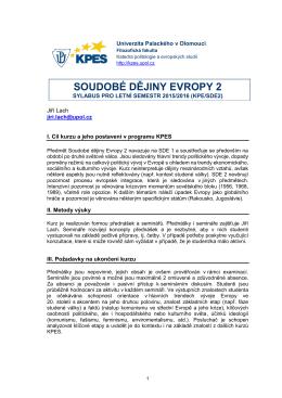 Sylabus KPE/SDE2 pro rok 2015-2016
