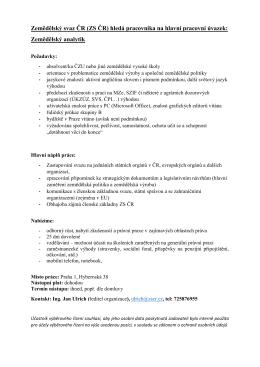 Zemědělský analytik - Zemědělský svaz ČR