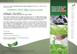 HORIZON 2020 – připravujeme projekt - (RKO