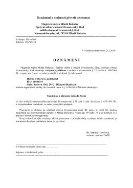 veřejná vyhláška – uložení doporučené zásilky – Helena Ctiborová