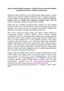 """Výzva k podání žádostí z programu """"Podpora obnovy"""