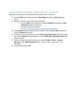 Postup nastavení výškového modelu DMR 4G v ArcGIS Pro